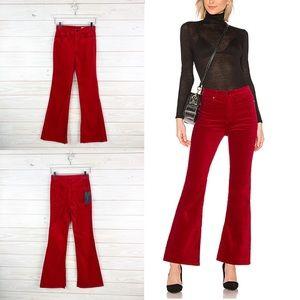 Rag & Bone Bella Velvet Pant in Red New Size 25